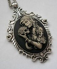 Painted SUGAR SKULL GYPSY GIRL Cameo GOTH VICTORIAN Pendant Necklace DAY OF DEAD