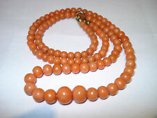 Antike Korallen Kette 26g old natural coral necklace Lachskoralle 9 - 5 mm Perle