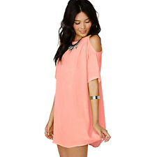 Womens Oversized Summer Off Shoulder Blouse Shirts Chiffon Mini Dress Long Tops