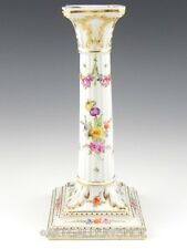 Antique Dresden Saxony Helena Wolfsohn HANDPAINTED FLOWERS & GOLD CANDLE HOLDER