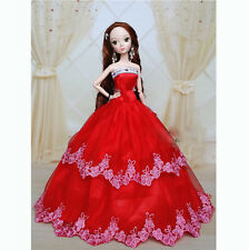 Red Wedding Gown Dresses Clothes Girl Party For Barbie Doll Xmas Gift
