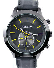 Henley Latest Mens Black & Yellow Smart Casual Sports Watch with Silicone Strap
