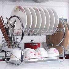Silver 2 Tier Kitchen Counter Storage Dish Draining Drying Rack Cup Holder  EHE8