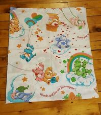 Vintage Care Bears fabric material hearts rainbows hot air balloons retro craft
