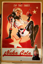 "Fallout 4 Nuka Cola Pin-Up Tin Sign Prop Replica 18"" Tall 12"" Wide Metal Sign"