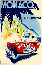 1952 Monaco French Grand Prix Art Automobile Race Advertisement Vintage Poster