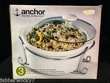 Anchor Home Collection – 3pc Covered Baking Dish with Serving Rack - NEW IN BOX