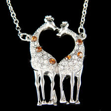 w Swarovski Crystal Giraffe Lover Safari Animal Girls Pendant Chain Necklace New