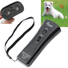 Ultrasonic Dog Chaser Stop Aggressive Animal Attacks Repeller&Flashlight Black