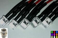 5mm Pre-Wired Flat Top Wide Angle LED Chrome Metal Holders/Bezels