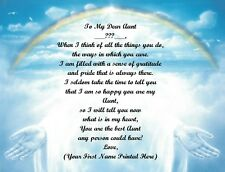 Christmas Gift/ Birthday Gift For Aunt Personalized Poem Gift ~ Rainbow Hands