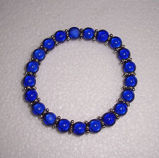 Blue Miracle Bead Bracelet with Tibetan Silver Spacers Fashion Jools Handmade