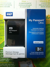 WD 3TB Black My Passport Ultra Portable External Hard Drive USB 3.0