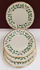 """LENOX CHINA """"HOLIDAY"""" DINNER PLATES Set Of 4 Ivory & Gold    UNUSED New W/ Tags"""