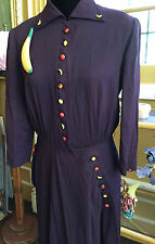 Vintage 1940s 40s Dorothy Hubbs Glass Fruit Buttons Novelty Rayon Dress