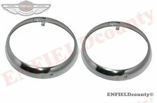 "PAIR HEADLIGHT RETAINING CHROME PLATED BEZEL RIM TRIM 8"" WILLYS JEEP TRUCK @CAD"