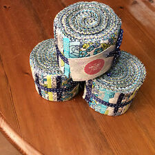 "Jelly roll, 24 x 2.4"" wide strips 100% cotton craft fabric - blue floral design"