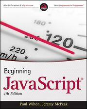 Javascript by Paul Wilton and Jeremy McPeak (2009, Paperback) ISBN 9780470525937