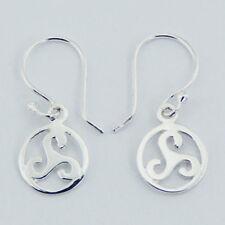 Silver Celtic Triskele Hook Earrings Sterling Silver 925 Best Deal Plain Jewelry