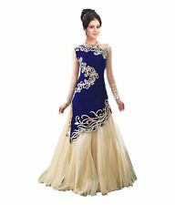 NEW Blue Indian Formal Prom Gown For Women Evening Party Long Dress Ethnic Wear