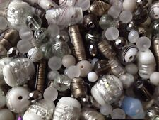 * BEAUTIFUL MIX OF WHITE, SILVER & GREY GLASS BEADS FOR JEWELLERY MAKING - 40g *