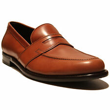 $645 New FERRAGAMO Brown Leather Penny Dress Loafers 10 EE 43 Men's Casual 43 .5