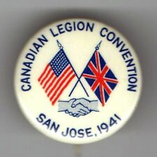 1941 pin WWII HOMEFRONT CANADIAN Legion Convention US UNION JACK Flag Handshake