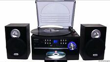 Lp Jensen 33/45/78 Rpm Record Player Cd Cassette Radio Aux Stereo System Combo W