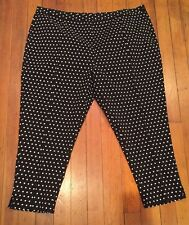4X NWT Designer Label Black and White Polka Dot Ankle Pants Retro Mod Plus Size