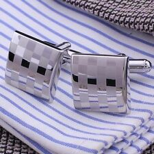 Classical Silver Square Steel Wedding Party Gift Mens Cufflinks Laser Cuff Links