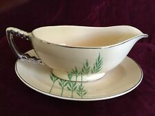 Leigh Ware Green Wheat Gravy Boat w/ Saucer Art Deco 1920s Gale Turnbull Antique