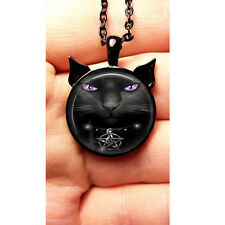 Wiccan Pendant Necklace Black Cat Witchcraft Pentagram Pentacle