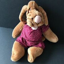 "Wrinkles Girl Brown Dog Puppy Hand Puppet 18"" Plush Stuffed Animal Floral Outfit"