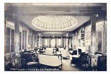 rp02643 - Cunard Liner - Mauretania 1st class Library - photo 6x4