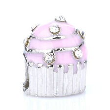 925 Silver Cupcakes Pink CZ Crystal Loose Spacer Charm Bead For Bracelet