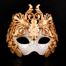 Greek God Roman Warrior Venetian Masquerade Mask for Men - Antique Gold