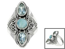 2.40ctw Pear Shape Blue Topaz With Round Cabochon Larimar Sterling Silver 3-ston