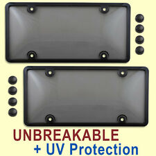 2 TINTED LICENSE PLATE COVERS + BLACK FRAMES tag holder bracket smoke two
