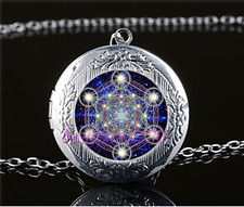 Sacred Geometry Photo Cabochon Glass Tibet Silver Locket Pendant Necklace#ff8