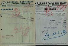 Cannstatt A. N., 2 x facture 1930, sacs-u. couvertures-usine J. siegle