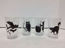4 Pottery Barn Kids Halloween Tumbler Cups Plastic Glasses bat cat owl witch