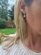 DESIGNER SMALL PEARL DROP BRIDAL EARRINGS STERLING SILVER TINY STUDS HANDMADE