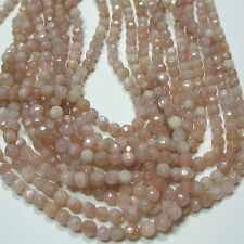 "Peach Moonstone 4mm Faceted Round Beads 15"" Sparkling Sheen Semi-Precious Stone"