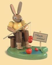 Mueller Traditional German Easter Wooden Figurine - Bunny Rabbit Fishing at Pond