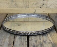 Silver Effect Mirror Tealight Candle Plate Tray 30Cm
