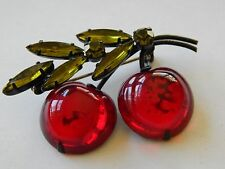 Vintage Austria Marked Cherry Fruit Flower Bloom Red Green Crytsal Brooch Pin