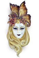 Art Deco Gold Lady Butterfly Venetian Mask w/ Ruby Lips Sculpture Wall Decor