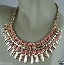 VINTAGE GOLD TONE,CRYSTAL/RHINESTONE,PINK LEATHER/SUADE ART DECO NECKLACE