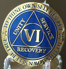 6 Year AA Medallion Blue Gold Plated Alcoholics Anonymous Sobriety Chip Coin Six