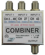 Selective combiner for 3 antennas, Selective channel UHF combiner, UHF combiner